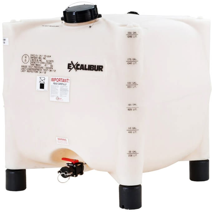 330 Gallon Excalibur 1.35 SG Legged HDPE IBC